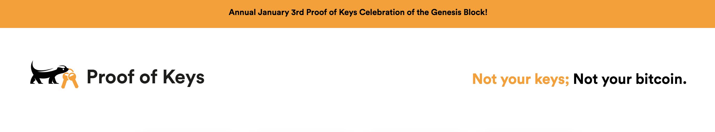 Annual January 3rd Proof of Keys Celebration of the Genesis Block!