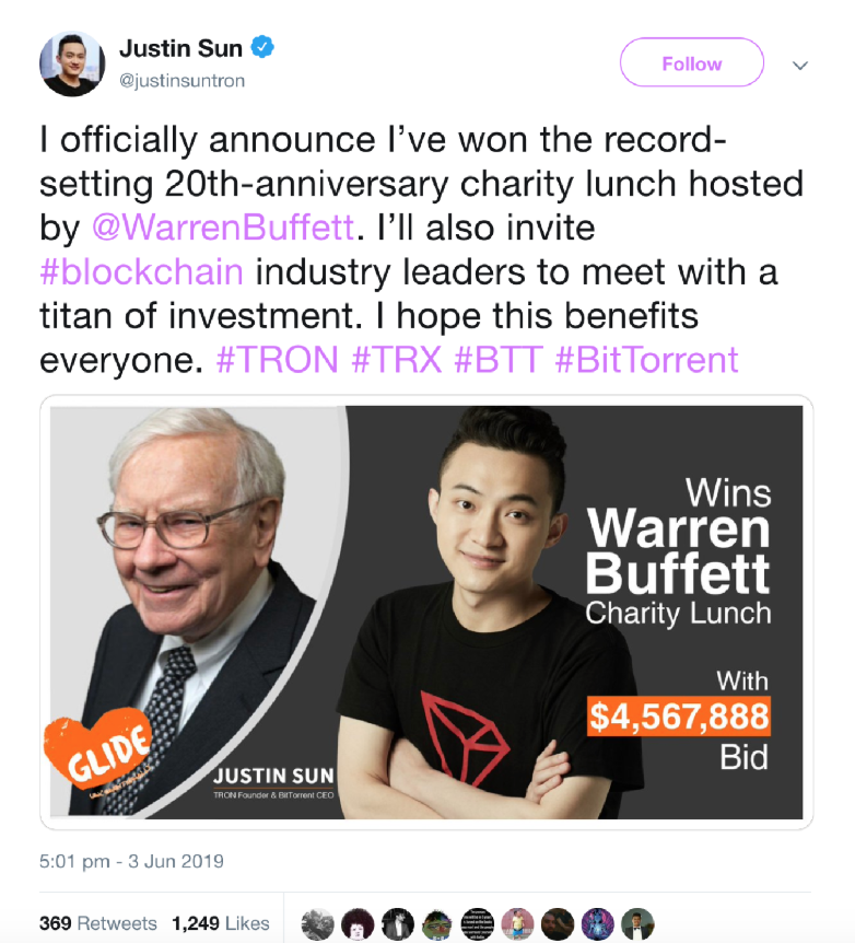 Crypto Pioneer Justin Sun Pays $4.6M for Power Lunch With Warren Buffett (#GotBitcoin?)