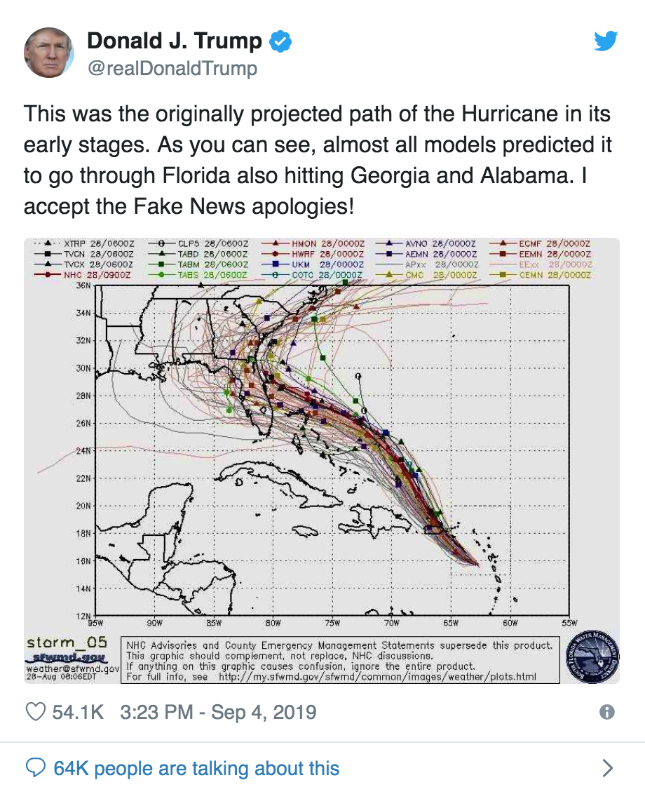 Donald Trump Doctors Hurricane Dorian Map Apparently With Marker Pen (#GotBitcoin?)