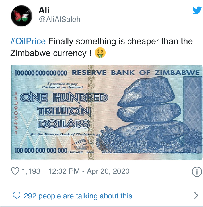 Oil Price Memes And Jokes of 2020 Never Let A Good Oil Price Crash Go To Waste