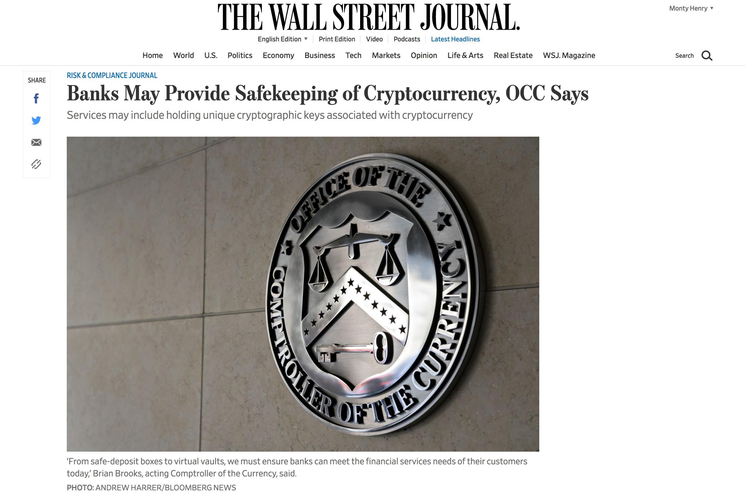 US Banking Regulator Greenlights Crypto Custody At Federally Chartered Banks (#GotBitcoin?)