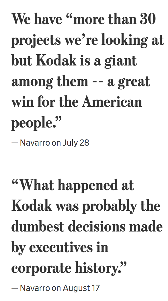 Donald Trump, Peter Navarro (Trade Adviser) And A $765 Million Loan To Kodak That Deal Blew Up