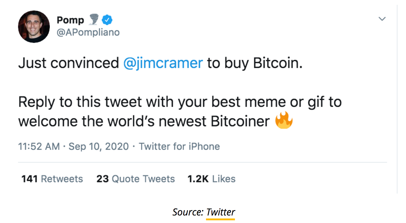 Pomp Claims He Convinced Jim Cramer To Buy Bitcoin