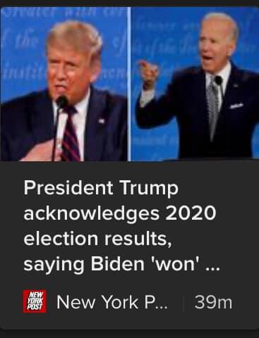 Breaking! Trump Tweets That Biden Won Election, Says Vote Was 'Rigged'